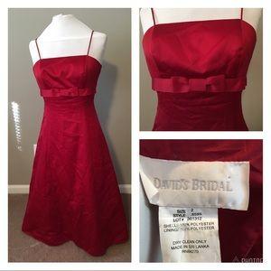 David's Bridal Red Spaghetti Strap Formal Dress